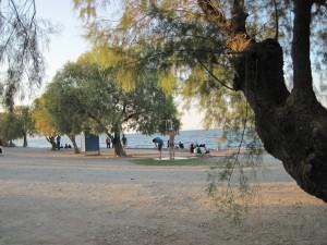 Einige der Migranten aus Pikpa am dortigen Strand